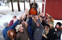 A group of local musicians recorded a double album using the same 1961 Gibson J45 acoustic guitar to benefit Maureen's Haven. Photo: Bryon Downey.