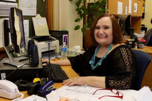 Patricia Skura at her desk in the Riverhead Middle School guidance office last week. Photo: Denise Civiletti
