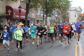 The Run for the Ridley 5K steps off on East Main Street Saturday morning. Photo: Peter Blasl